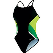 Nike Women's Poly Team Splice Cut-Out Back Tank Swimsuit