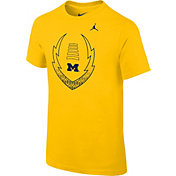 Jordan Youth Michigan Wolverines Maize Football Icon T-Shirt