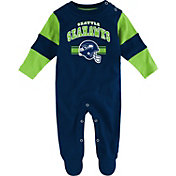 NFL Team Apparel Infant's Seattle Seahawks Newborn Navy Coverall