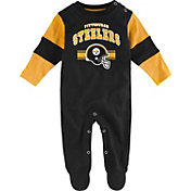 NFL Team Apparel Infant's Pittsburgh Steelers Newborn Black Coverall