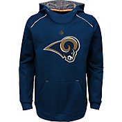 NFL Team Apparel Youth Los Angeles Rams Pinnacle Navy Performance Hoodie