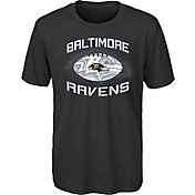 NFL Team Apparel Youth Baltimore Ravens Infinity Chrome Performance Black T-Shirt