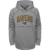 NFL Team Apparel Youth Baltimore Ravens Arch Grey Pullover Hoodie