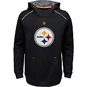 NFL Team Apparel Youth Pittsburgh Steelers Pinnacle Black Performance Hoodie