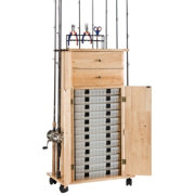 Organized Fishing Rod and Utility Box Cabinet