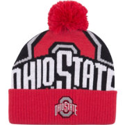OSU Men's Ohio State Buckeyes Black/Scarlet Double Stack Cuffed Knit Beanie