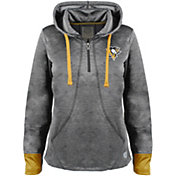 Old Time Hockey Women's Pittsburgh Penguins Annabelle Black Quarter-Zip Hoodie