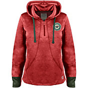 Old Time Hockey Women's Minnesota Wild Annabelle Red Quarter-Zip Hoodie
