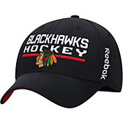 Reebok Men's Chicago Blackhawks Center Ice Locker Room Black Structured Flex Hat