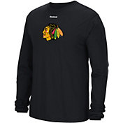 Reebok Men's Chicago Blackhawks Jersey Crest Black Long Sleeve T-Shirt
