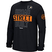 Reebok Men's 2017 NHL Stadium Series Philadelphia Flyers Broad Street Built Long Sleeve Black T-Shirt