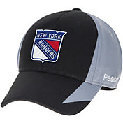 Reebok Men's New York Rangers Center Ice Practice Black/Grey Structured Flex Hat