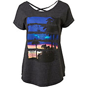 Reebok Women's Plus Size Heather Open Back Sunset Graphic T-Shirt