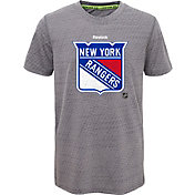 Reebok Youth New York Rangers Center Ice TNT Grey Performance T-Shirt