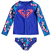 Roxy Girls' Little Tropics Long Sleeve Rash Guard Set