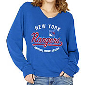 Soft As A Grape Women's New York Rangers Stretch Royal Long Sleeve V-Neck T-Shirt