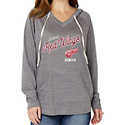 Soft As A Grape Women's Detroit Redwings Grey V-Neck Hoodie
