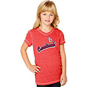 Soft As A Grape Youth Girls' St. Louis Cardinals Tri-Blend Red V-Neck T-Shirt