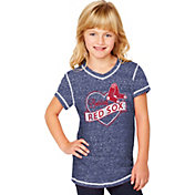 Soft As A Grape Youth Girls' Boston Red Sox Navy V-Neck Shirt