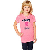 Soft As A Grape Youth Girls' Detroit Tigers Tri-Blend Pink V-Neck T-Shirt