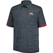 Scarlet & Gray Men's Ohio State Buckeyes Black Intensity Space Dye Polo