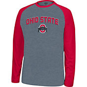 Scarlet & Gray Men's Ohio State Buckeyes Gray/Scarlet Home Plate Long Sleeve Shirt