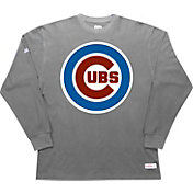 Stitches Men's Chicago Cubs Thermal Grey Long Sleeve Fleece