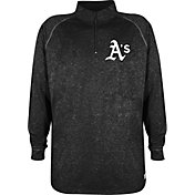 Stitches Men's Oakland Athletics Black Quarter-Zip Pullover Fleece