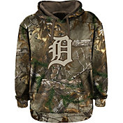 Stitches Men's Detroit Tigers Pullover Realtree Camo Hoodie