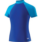 Speedo Girls' Colorblock Short Sleeve Rash Guard