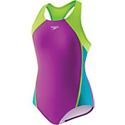 Speedo Girls' Mesh Splice Racerback Swimsuit