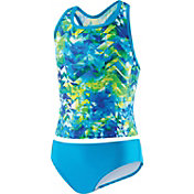 Speedo Girls' Tie Dye Splash 2 Piece Short Sleeve Rash Guard Set