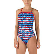 Speedo Women's Printed One Back Champs & Stripes Swimsuit