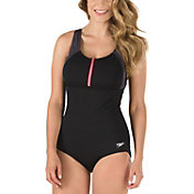 Speedo Women's Zip Front Touch Back Swimsuit