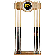 Trademark Games Iowa Hawkeyes 2-Piece Wood and Mirror Wall Cue Rack