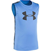 Under Armour Little Boys' Big Logo Midtown Grid Sleeveless Shirt