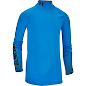 Under Armour Boys' ColdGear Armour Branded Fitted Mock Neck Long Sleeve Shirt