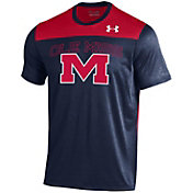 Under Armour Men's Ole Miss Rebels Navy/Red Foundation UA Tech T-Shirt