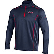 Under Armour Men's Ole Miss Rebels Blue/Red Validate Quarter-Zip Shirt