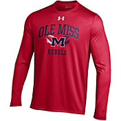 Under Armour Men's Ole Miss Rebels Red Long Sleeve Tech T-Shirt