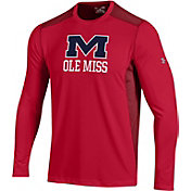 Under Armour Men's Ole Miss Rebels Raid Performance Long Sleeve Red T-Shirt