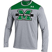 Under Armour Men's Marshall Thundering Herd Grey/Geen Foundation Long Sleeve UA Tech Tee