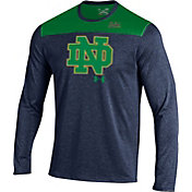 Under Armour Men's Notre Dame Fighting Irish Navy/Green Foundation Long Sleeve UA Tech Tee