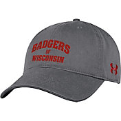 Under Armour Men's Wisconsin Badgers Grey Cotton Adjustable Hat