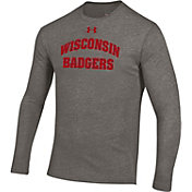 Under Armour Men's Wisconsin Badgers Grey Triblend Long Sleeve Shirt
