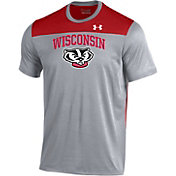 Under Armour Men's Wisconsin Badgers Grey/Red Foundation UA Tech T-Shirt