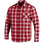 Under Armour Men's Wisconsin Badgers Red Plaid Status Button Down Shirt