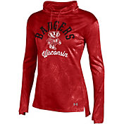 Under Armour Women's Wisconsin Badgers Red Fusion Tech Long Sleeve Cowl Neck Shirt