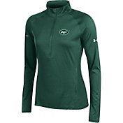 Under Armour NFL Combine Authentic Women's New York Jets Tech Green Quarter-Zip Performance Pullover