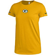 Under Armour NFL Combine Authentic Women's Green Bay Packers Logo Tech Gold Performance T-Shirt